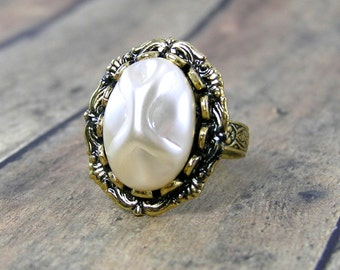 Vintage Pearl Ring, Antique Gold, Adjustable Ring Band, Statement Ring, Oval Shaped Ring