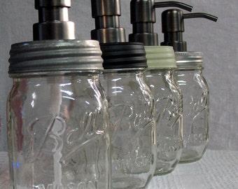 Ball Mason Jar Soap Dispenser 1 pint- your choice of lid color. Black, Galvanized, rust proof lid -- add a modern twist to farm house decor