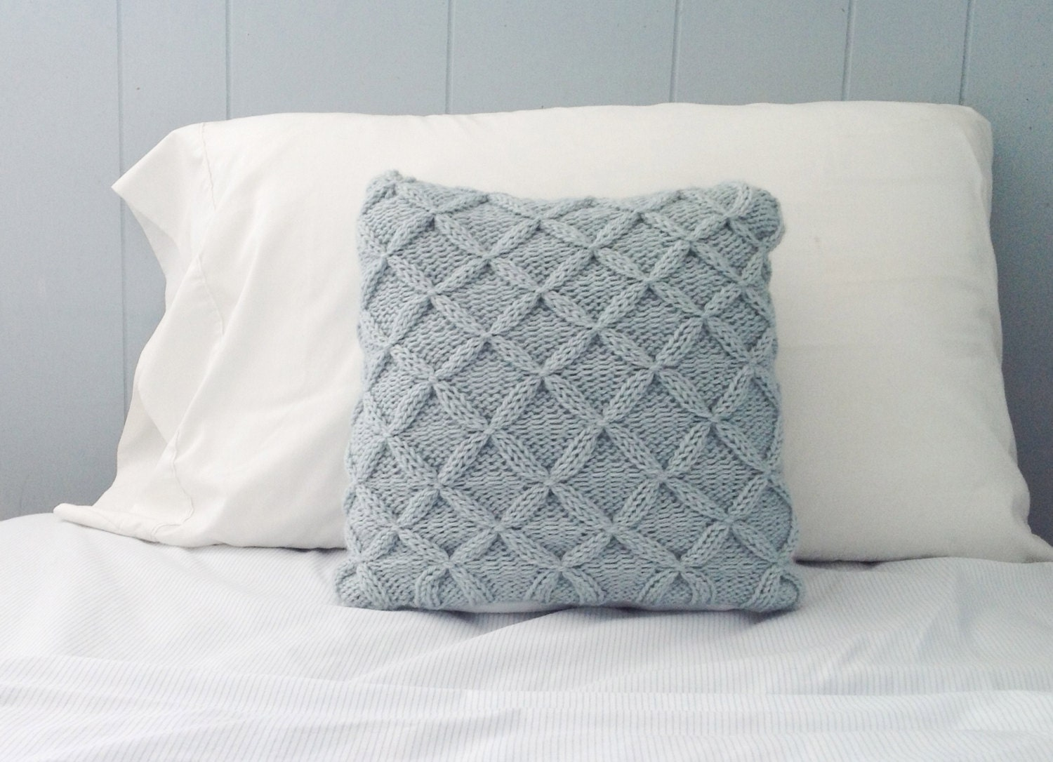 Knitting Patterns For Throw Pillows : Knit Blue Throw Pillow Decorative Pillow Cable by PreciousKnits