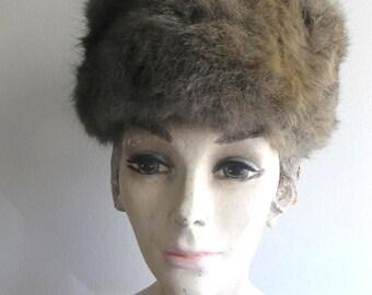 1960s Vintage Coyote Fur Turban Mod Hat