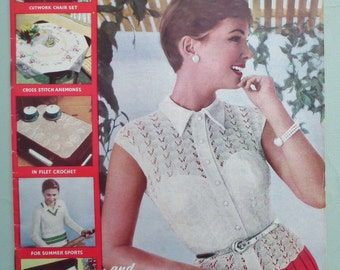 Vintage Needlecraft Magazine 1950s Sewing Crochet Knitting Patterns 50s - Needlewoman and Needlecraft No 70 April 1957 - embroidery transfer