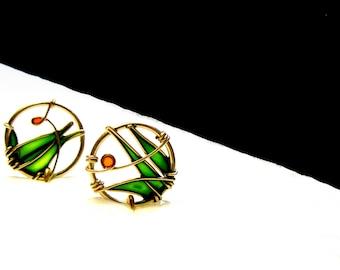Emerald Green Earrings.12K Gold Filled Earrings. Dangle Earrings. Green Grass Earrings. Long Earrings. Green Jewelry. Gold Jewelry.
