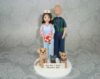 ER Nurse & Doctor with Pets Personalized Wedding Cake Topper