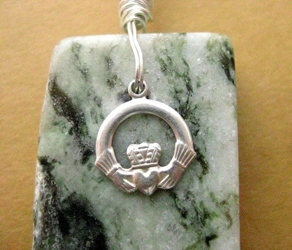 Connemara Marble Claddagh Pendant. Sterling Silver.  Handmade in Ireland.  Friendship
