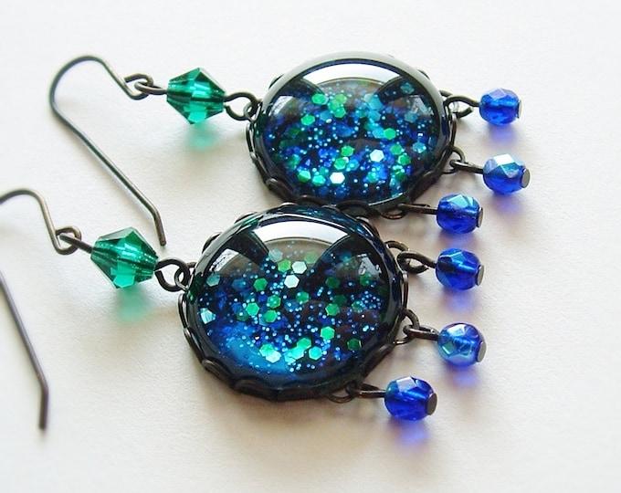 Nail Polish Earrings Blue Green Glitter Earrings Large Vintage Iridescent Glass Earrings