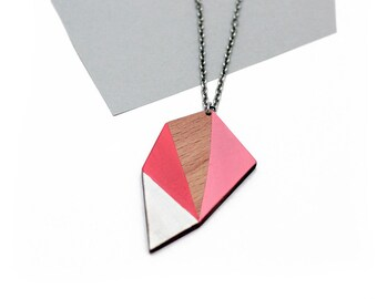 Geometric wooden polygon necklace - salmon, pink, white, natural wood - minimalist, modern jewelry - color blocking