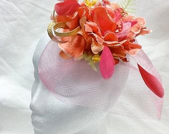 Coral derby fascinator salmon wedding hat watermelon wedding hat   HENRY