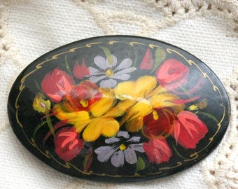 Vintage Signed Hand Painted Wood Brooch Russian Beautiful Floral Design