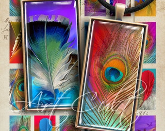 1x2 inch images FEATHERS print-it-yourself Digital Collage Sheet for glass or resin domino pendants bezel settings magnets ArtCult designs