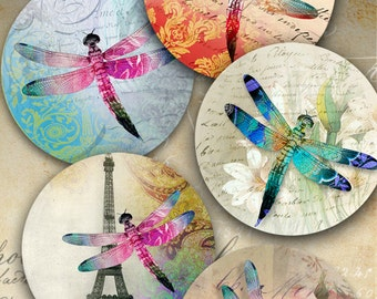 2.5 inch size images DRAGONFLIES Printable Collage Sheet, circles for Pocket Mirrors, Magnets, Paper Weights. ArtCult digital paper goods