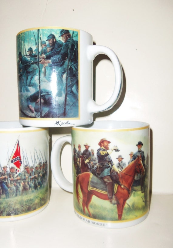 4 Mort Kunstler Civil War Painting Coffee Cup Mugs General Lee Chamberlain Armistead Battle of Gettysburg