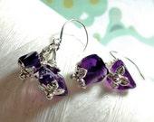 Worry Locket Matching Earrings - amethyst earrings / silver leaf earrings / purple earrings / February earrings  / Sterling Silver earrings