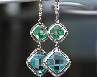 Faceted Diamond Shaped Peridot and Aquamarine Crystal Dangle Earrings in Silver