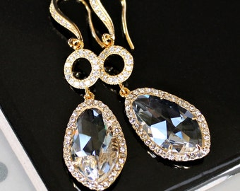 Brilliant Clear Crystals Set with Cubic Zirconia Together with Pave Crystal Links on Crystal Detailed Gold French Earrings
