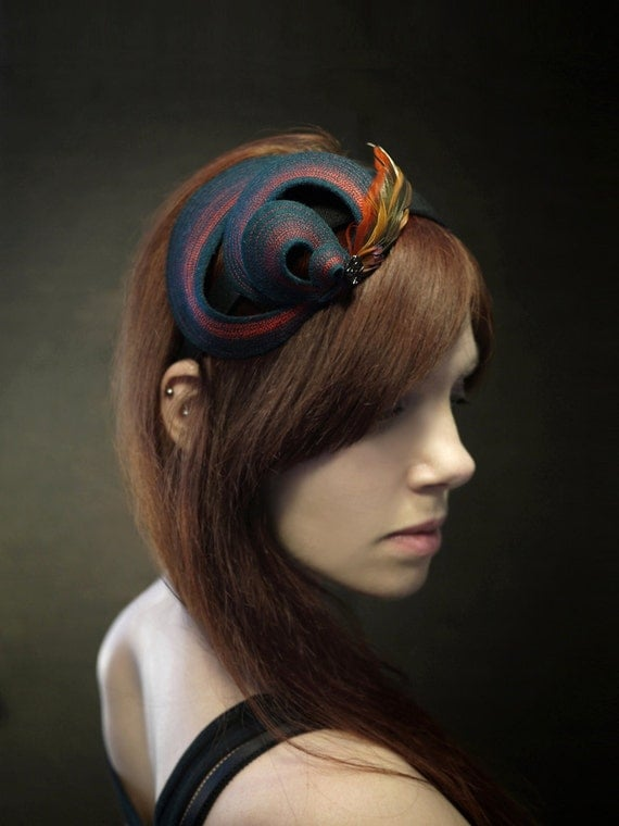 Sculptural Teal Felt Headband with Vintage Button and Feathers - Made To Order