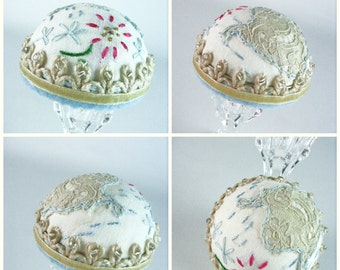 Pincushion, Flapper Hat Style, Jewelry Display, Deco, Hat Pin Stand, Pinkeep, Embroidered