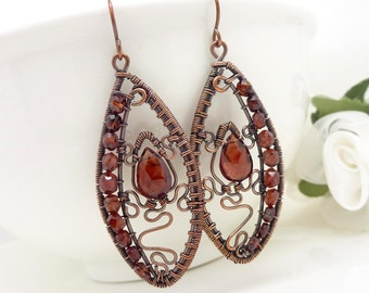 Copper wire wrapped earrings, copper garnet earrings, long dangle gemstone rustic big dark red gothic earrings, handmade copper jewelry