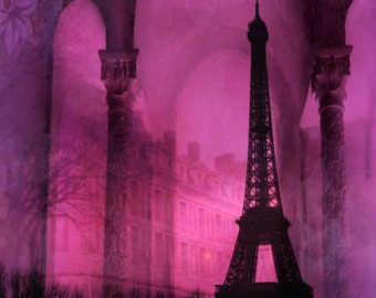Paris Photography, Eiffel Tower Surreal Print, Paris Pink Eiffel Tower Architecture, Eiffel Tower Wall Art, Surreal Paris Eiffel Tower Print