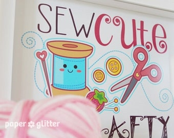 Sewing Poster Sew Cute and Crafty