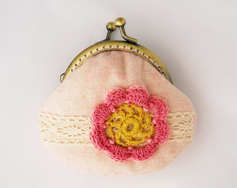 Lace and Crochet Flower Coin Purse Pastel yellow pink
