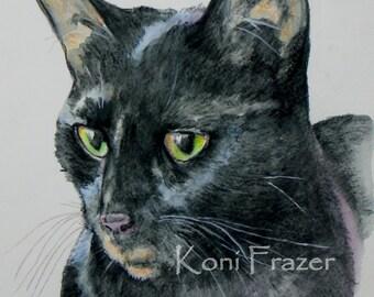 Black cat watercolor art, Dreamy Eyes