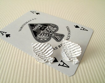 Spades Earrings The Ace Of Spades Earrings Sterling Silver Earrings Spade Jewelry