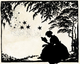Papercut Art - Magic Book - Reading Literary Folk Art - Woodland Whimsical Silhouette - Elegant Nursury Art Vintage Fairy Tale