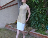 Women's Vintage 60's Glittery Gold Sleeveless Tunic Shirt With Standing Collar -  Size  Small