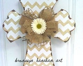 Taupe + White Chevron Cross Door Hanger - Bronwyn Hanahan Art