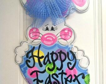 Happy Easter Bunny Door Hanger - Bronwyn Hanahan Art