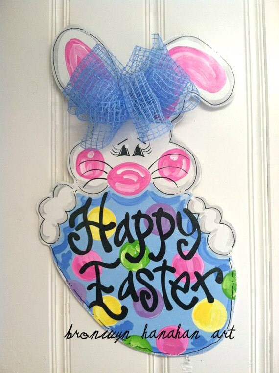 Happy Easter Bunny Door Hanger - Bronwyn Hanahan Art