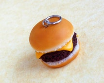 cheeseburger charm, polymer clay, pendant, stitch marker, dust plug, key chain