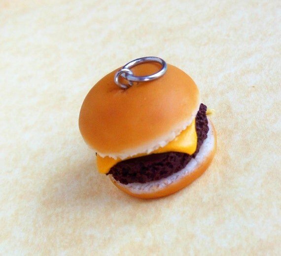 cheeseburger charm, polymer clay, pendant, stitch marker, dust plug, key chain