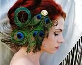 Art Nouveau Peacock Headpiece - Crystal Rhinestone Feather Fascinator
