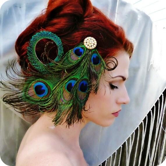 Peacock Headpiece For Wedding: Art Nouveau Headpiece Peacock Headpiece Feather By