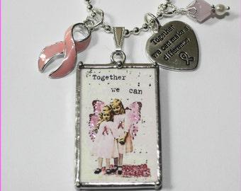 Breast Cancer Find a Cure Little Pink Angels Reversible Vintage Postcard Necklace