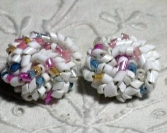 CLEARANCE SALE - Vintage Pastel Cluster Clip Earrings (E-2-5)