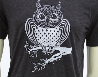 OWL| Soft Lightweight T Shirt| Art by MATLEY| Fittedees|| Crew and V-neck| Great gift| Unisex| Bird| Zen.