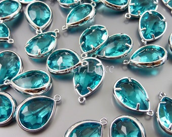 2 sea green / blue zircon glass charms with silver bezel / jewellery supplies, bridal jewelry 5117R-SG (bright silver, sea green, 2 pieces)