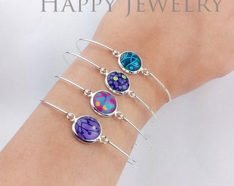0.68 each - Big Sale - 50pcs 12mm High Quality Silver Plated Cabochon Pendant Base Bangle Bracelet (PBC-S)