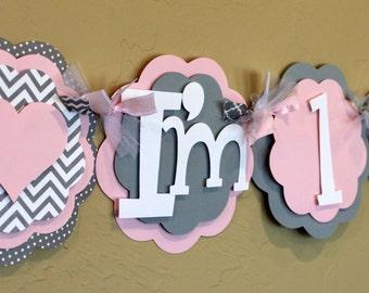 "Heart Light Pink Gray Chevron Stripe Polka Dot ""I'm 1"" High Chair Age Banner Girl Baby Shower Birthday Decorations Wedding Love Valentine"
