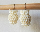 READY to SHIP, Whimsical Owl Earrings, Ivory owl, Off White,  wise owl earrings, thank you gift, Holiday gift, Fall Autumn earrings gift