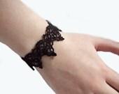 Gothic Victorian Bridal Bracelet in Tatting - Alexandra - Adjustable