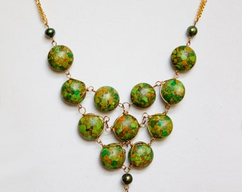 Green Mosaic Turquoise Statement Necklace