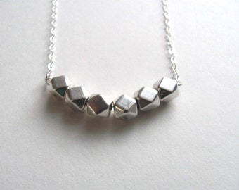 Silver geometric necklace with silver faceted beads, delicate sterling plated chain