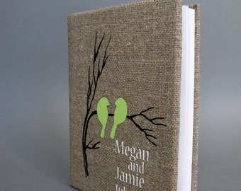 Wedding Guest Book / Wedding Book / Rustic Wedding Guest Book /  Linen Guest Book Size 6.1 inches X 8.3 inches Green Birds
