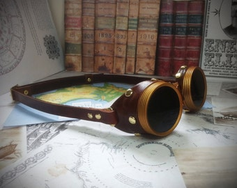 Steampunk Goggles Brass & Brown Leather - The Commander , Dieselpunk, Adventurer, Time Traveller, Explorer, Airship, Kraken, Burning Man