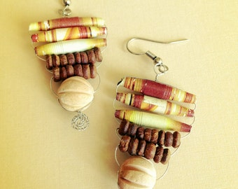 Tan and Orange Tribal Paper Bead Earrings - Recycled, Upcycled and Eco-Friendly