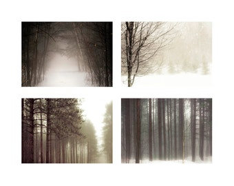 SALE, Winter Tree Photos, Set of 4 Prints, Brown, White, Neutral, Winter Tree Prints, Nature Photography