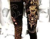 Alchemy Bees & Hives Hand Painted Tribal Leggings